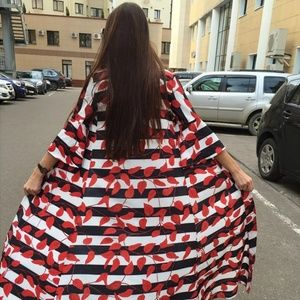 Tops - Floral Print Long Maxi Kimono Jacket Coat XL